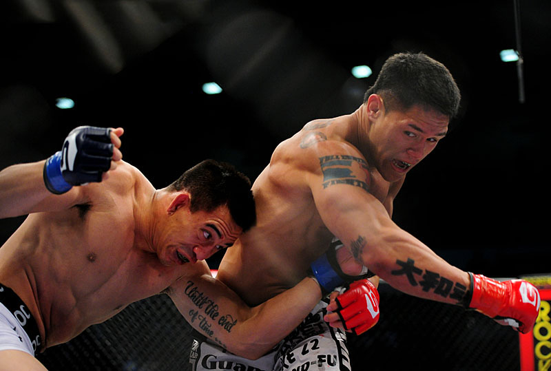 Herman Torrado takes aim at A.J. Matthews at Strikeforce: Diaz vs. Daley. (Photo by Mark J. Rebilas via markjrebilas.com)