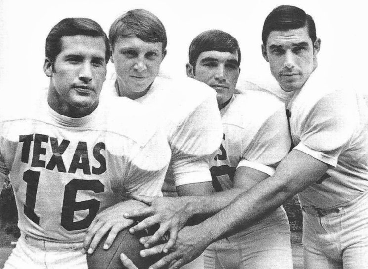 The University of Texas' 1969 backfield; James Street, Jim Bertelsen, Steve Worster and Ted Koy. Photo: University of Texas Archives.