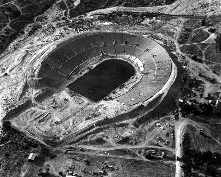The Rose Bowl Stadium under construction in Pasadena, California in 1922. Photo National Register of Historic Places.