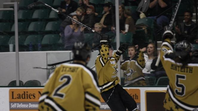Tornado Captain Jack Prince Jumps into the boards celebrating his hat trick!