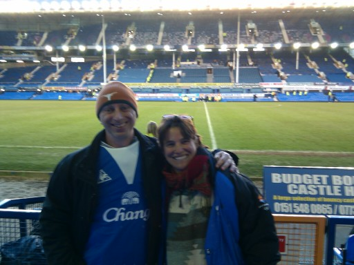 Me and my girl at Goodison Park during a, uh, blogging opportunity in 2010. (We're not really massive Everton fans, we just wanted to wear the souvenir gifts we bought for everyone else; better than carrying them around!)