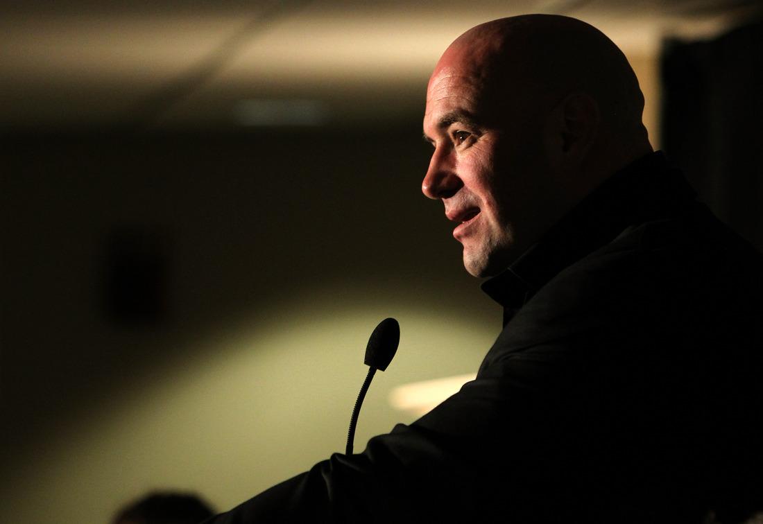 SAN JOSE, CA - NOVEMBER 19: UFC President Dana White attends the UFC 139 post-fight press conference at the HP Pavilion on November 19, 2011 in San Jose, California. (Photo by Josh Hedges/Zuffa LLC/Zuffa LLC via Getty Images).