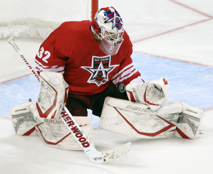 Allen Americans goaltender Rejean Beauchemin is one of the top goalies in the Central Hockey League, posting some amazing numbers and even back to back shutouts. (Photo courtesy CHL Photos blog www.chlphotos.com)