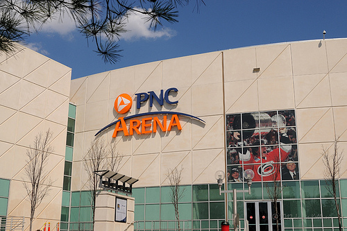 The building that welcomed the Stanley Cup undergoes a transformation on March 15, 2012 as the RBC Center officially becomes PNC Arena (author's photo).