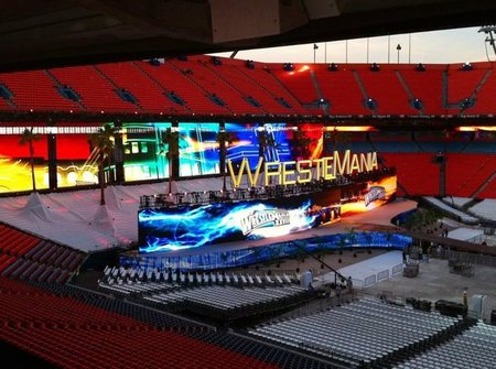 """The stage is set for Wrestlemania. Literally. (Photo via our friends at <a href=""""http://www.cagesideseats.com"""">Cageside Seats</a>)"""