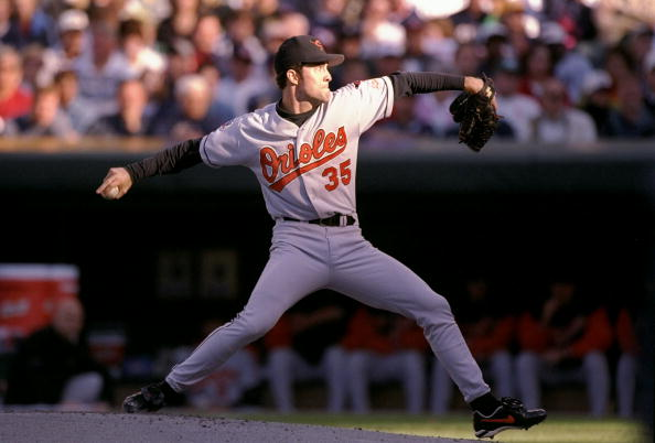 Seen here in the 1997 playoffs, Mike Mussina could have been a free agent after this if he didn't take a team-friendly contract. Photo credit: Doug Pensinger/Getty Images Sport