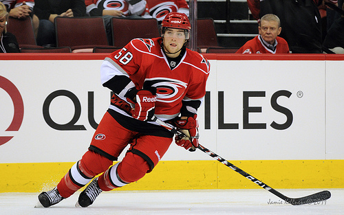 Chris Terry (shown here in a preseason game against the Nashville Predators on September 23, 2011) was signed to a two-year, two-way contract by the Carolina Hurricanes on Friday (author's photo, all rights reserved).