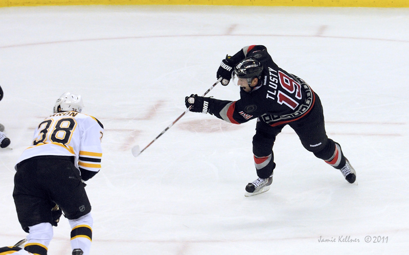 Tlusty enjoys being able to shoot the puck more.  Photo by Jamie Kellner