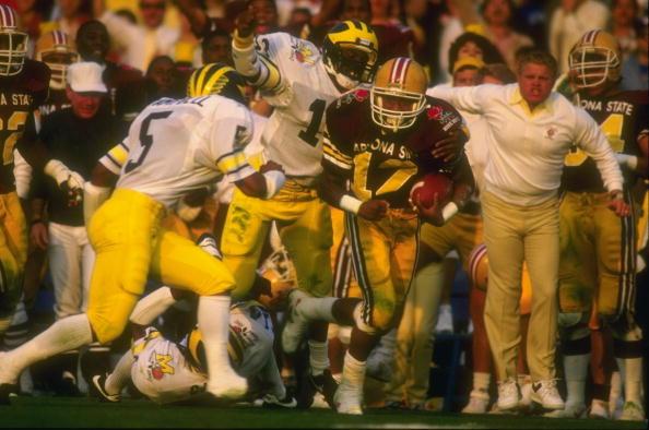 1 Jan 1987: Darryl Harris of Arizona State runs with the ball during their 22-15 win over Michigan at the Rose Bowl in Pasadena, California. (Mandatory Credit: Rick Stewart / Allsport)
