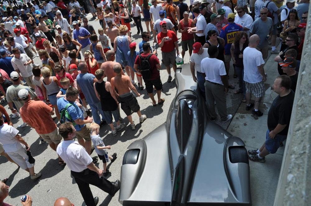The Delta Wing rolling concept model made a splash at the Indianapolis Motor Speedway in May. (Photo: Delta Wing, LLC)