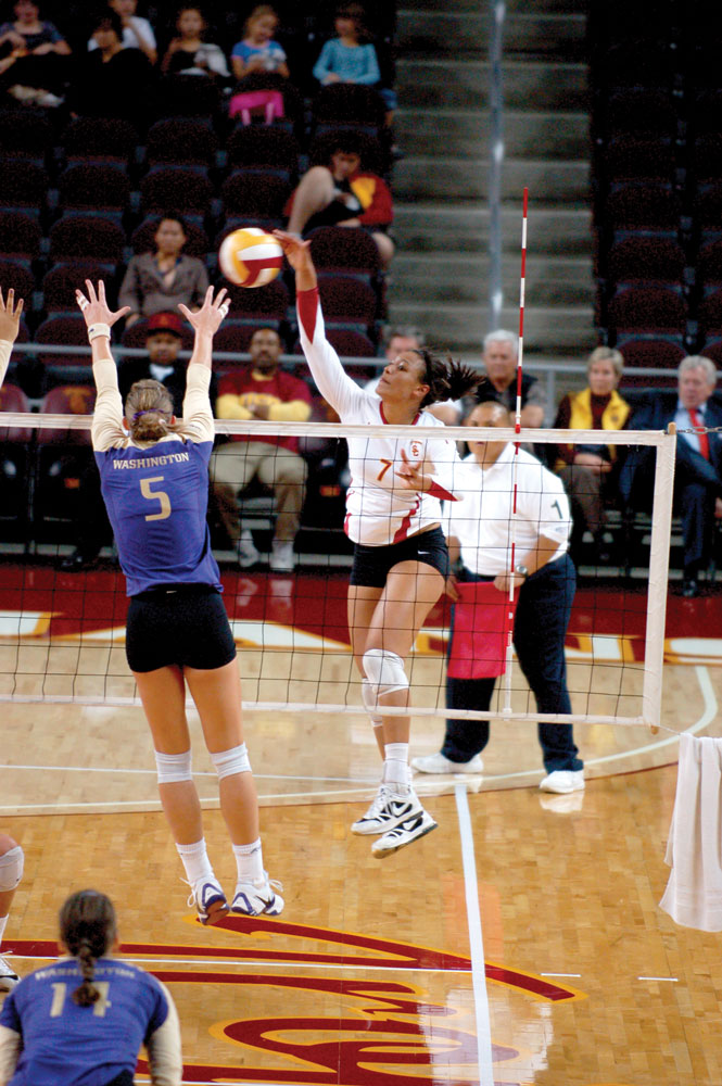 """The Women of Troy will rely heavily on junior outside hitter Alex Jupiter (pictured). (Photo Credit: <a href=""""http://dailytrojan.com/2009/11/19/road-weary-women-of-troy-travel-one-last-time/"""">Daily Trojan</a>)"""