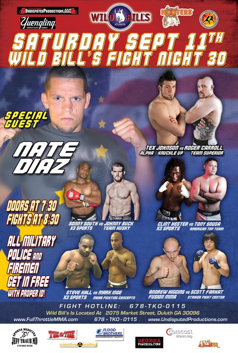 """Wild Bill's Fight Night 30 takes place this Satuerday September 11th. Get your tickets <a href=""""http://www.ticketmaster.com/event/0E004506E933B370?artistid=1295072&majorcatid=10004&minorcatid=830"""" target=""""new"""">here</a>"""