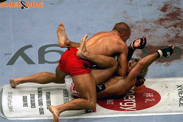 """To have any chance of winning at UFC 124, Josh Koscheck needs to avoid positions like this against Georges St. Pierre. <em>Photo via <a href=""""http://www.sherdog.com"""" target=""""new"""">Sherdog.com</a></em>"""
