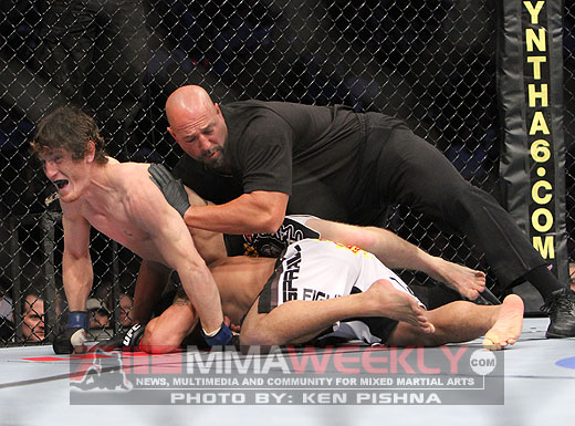 """Mac Danzig kept his job and earned No. 1 star honors for UFC 124 with his first-round knockout of Joe Stevenson. Photo by Ken Pishna/<a href=""""http://mmaweekly.com"""" target=""""new"""">MMAWeekly.com</a>"""