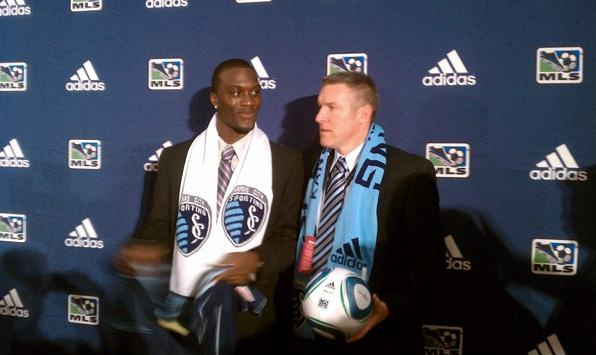 """<strong>Sporting KC</strong> first round pick forward <strong>CJ Sapong</strong> with head coach <strong>Peter Vermes</strong>. <em>Photo courtesy <a href=""""http://twitter.com/SportingKC"""" target=""""new"""">Sporting KC Twitter page</a></em>."""