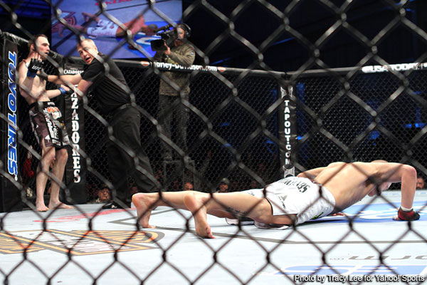 """Will Mark Hominick be doing his signature post-fight pushups like he did Saturday against George Roop following his fight with Jose Aldo? <em>Photo by Tracy Lee/<a href=""""http://sports.yahoo.com/mma"""" target=""""new"""">Yahoo! Sports</a></em>"""
