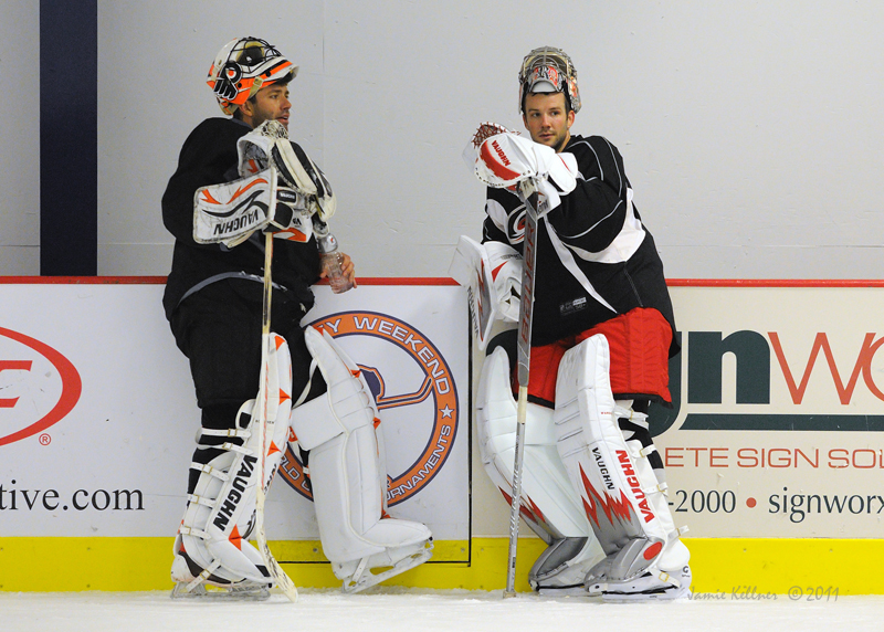 """Proteau thinks that Brian Boucher, left, can provide the Hurricanes with 25 to 30 starts backing up starter Cam Ward. (Photo by <a href=""""http://www.flickr.com/photos/jbk-ltd/collections/72157619609115405/"""">Jamie Kellner</a>)"""