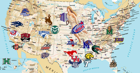 Conference Realignment Cowboy Altitude - Us map of college football teams