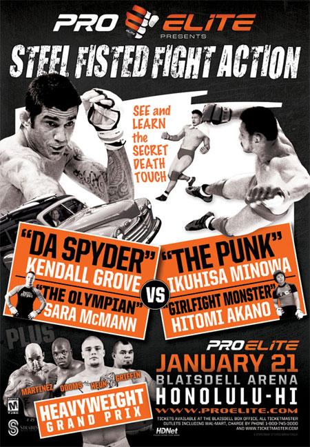 """ProElite: """"Da Spyder vs. Minowaman"""" poster via <a href=""""http://www.8countnews.com/data/images/news/categories/proelite3.jpg"""">www.8countnews.com</a>."""