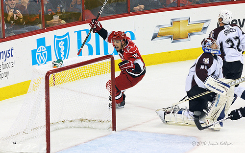 Brandon Sutter scores the OT game-winner in a 2-1 win against the Colorado Avalanche at the RBC Center on December 3, 2010. (author's photo)