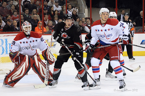 Jiri Tlusty comes into tonight's game with a seven-game point streak (author's photo from Hurricanes vs. Capitals January 20, 2012).