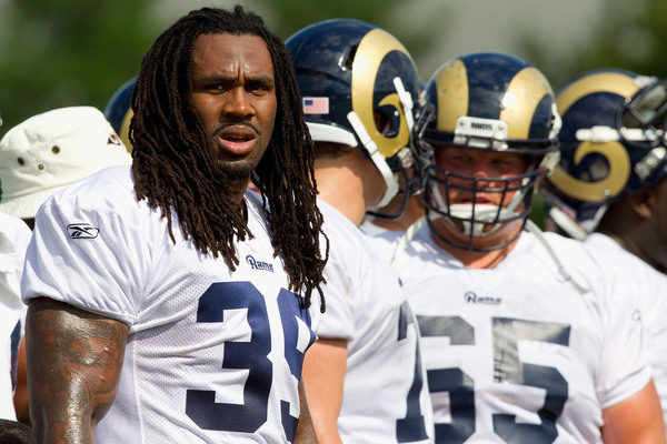 EARTH CITY MO - JULY 31: Steven Jackson #39 of the St. Louis Rams looks on during training camp at the Russell Athletic Training Facility on July 31 2010 in Earth City Missouri.  (Photo by Dilip Vishwanat/Getty Images)