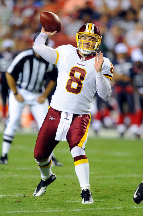 LANDOVER MD - AUGUST 13:  Rex Grossman #8 of the Washington Redskins throws a pass during the preseason game against the Buffalo Bills at FedEx Field on August 13 2010 in Landover Maryland.  (Photo by Greg Fiume/Getty Images)