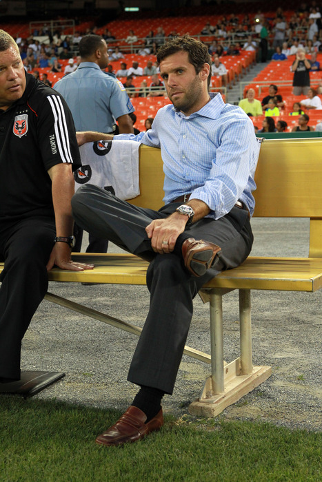 WASHINGTON - AUGUST 14: Head coach Ben Olsen of D.C. United sits on the bench prior to game against FC Dallas at RFK Stadium on August 14 2010 in Washington DC. (Photo by Ned Dishman/Getty Images)