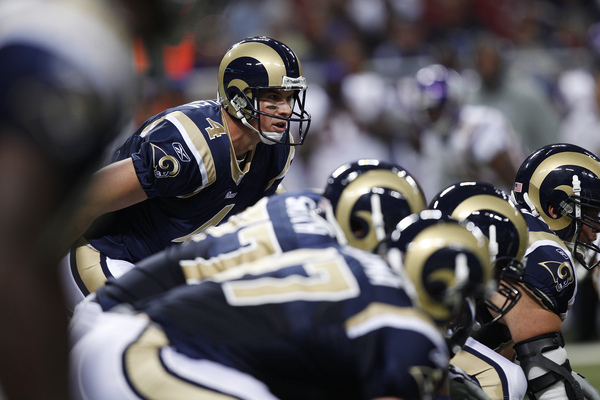 A.J. Feeley #4 of the St. Louis Rams calls out a play at the line against the Minnesota Vikings during the preseason game at Edward Jones Dome.
