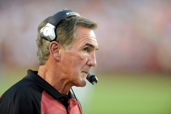 LANDOVER MD - AUGUST 21:  Head coach Mike Shanahan of the Washington Redskins watches the preseason game against the Baltimore Ravens at FedExField on August 21 2010 in Landover Maryland.  (Photo by Greg Fiume/Getty Images)