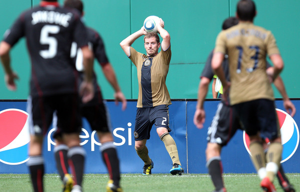 WASHINGTON - AUGUST 22: Jordan Harvey #2 of Philadelphia Union throws the ball in against D.C. United at RFK Stadium on August 22 2010 in Washington DC. (Photo by Ned Dishman/Getty Images)