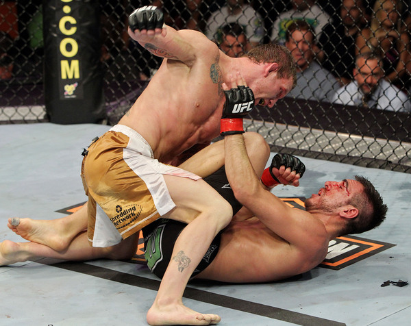 BOSTON - AUGUST 28:  Gray Maynard (L) fights against Kenny Florian during their UFC lightweight bout at the TD Garden on August 28 2010 in Boston Massachusetts.  (Photo by Josh Hedges/Zuffa LLC/Zuffa LLC via Getty Images)
