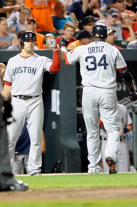 BALTIMORE:  David Ortiz #34 of the Boston Red Sox is congratulated by Ryan Kalish #55 after scoring in the seventh inning against the Baltimore Orioles at Camden Yards in Baltimore Maryland.  (Photo by Greg Fiume/Getty Images)