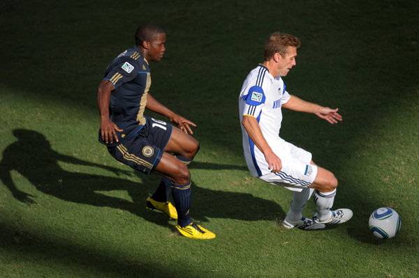 CHESTER PA - SEPTEMBER 04: Danny Mwanga #10 of the Philadelphia Union chases Jimmy Conrad #12 of the Kansas City Wizards at PPL Park on September 4 2010 in Chester Pennsylvania. The game ended in a 1-1 tie. (Photo by Drew Hallowell/Getty Images)