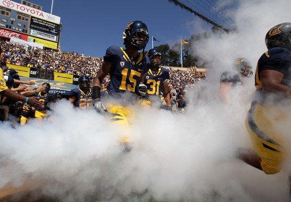 BERKELEY CA - SEPTEMBER 11: Bryant Nnabuife #15 of the California Golden Bears enters the field against the Colorado Buffaloes at California Memorial Stadium on September 11 2010 in Berkeley California. (Photo by Jed Jacobsohn/Getty Images)