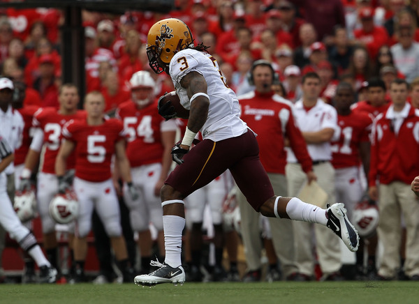 MADISON WI - SEPTEMBER 18: Omar Bolden #3 of the Arizona State Sun Devils returns a kick-off for a touchdown against the Wisconsin Badgers at Camp Randall Stadium on September 18 2010 in Madison Wisconsin. (Photo by Jonathan Daniel/Getty Images)