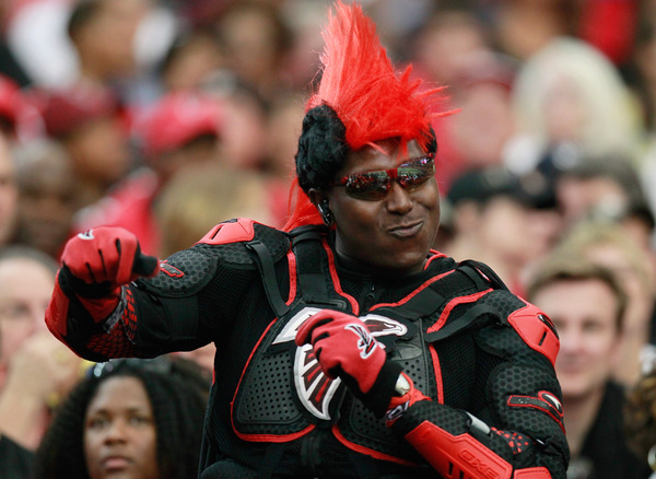 ATLANTA - SEPTEMBER 19:  A fan of the Atlanta Falcons cheers during the game against the Arizona Cardinals at Georgia Dome on September 19 2010 in Atlanta Georgia.  (Photo by Kevin C. Cox/Getty Images)