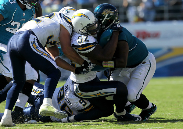 Quarterback David Garrard #9 of the Jacksonville Jaguars is sacked by linebacker Larry English #52 and safety Eric Weddle #32 of the San Diego Chargers.  (Photo by Stephen Dunn/Getty Images)