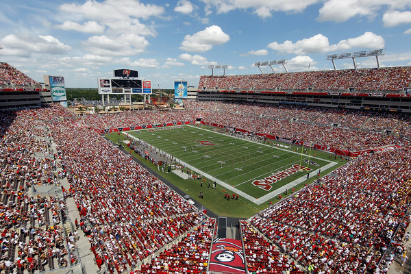TAMPA FL - SEPTEMBER 26:   A shot of Raymond James Stadium during the game between the Tampa Bay Buccaneers and the Pittsburgh Steelers on September 26 2010 in Tampa Florida.  (Photo by J. Meric/Getty Images)
