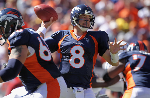 DENVER - SEPTEMBER 26:  Quarterback Kyle Orton #8 of the Denver Broncos delivers a pass against the Indianapolis Colts at INVESCO Field at Mile High on September 26 2010 in Denver Colorado.  (Photo by Doug Pensinger/Getty Images)
