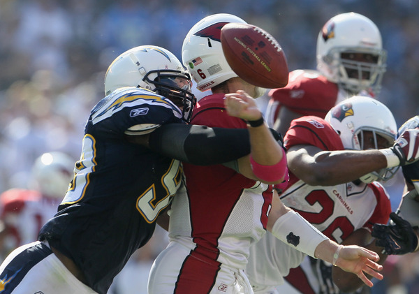 One of many, many sacks of Arizona quarterbacks by the Chargers that day.(Photo by Jeff Gross/Getty Images)