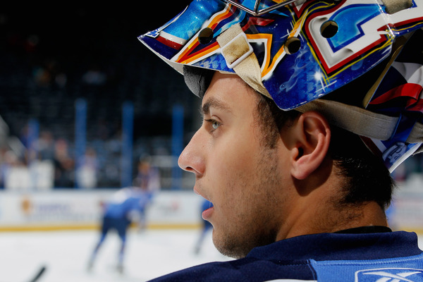 ATLANTA - OCTOBER 08:  Goaltender Ondrej Pavelec #31 of the Atlanta Thrashers looks on during warmups before facing the Washington Capitals at Philips Arena on October 8, 2010 in Atlanta, Georgia.  (Photo by Kevin C. Cox/Getty Images)