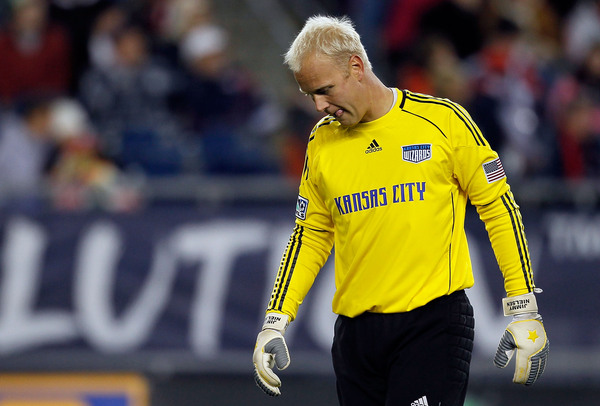 FOXBORO MA - OCTOBER 16:  Goalie Jimmy Nielsen #1 of the Kansas City Wizards reacts in the final moments of a 1-0 loss to the New England Revolution at Gillette Stadium on October 16 2010 in Foxboro Massachusetts. (Photo by Jim Rogash/Getty Images)