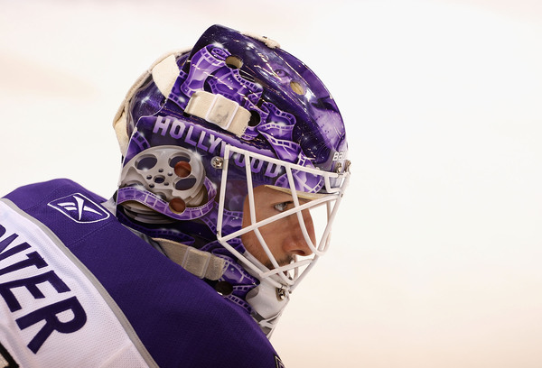 GLENDALE AZ - OCTOBER 21:  Goaltender Jonathan Bernier #45 of the Los Angeles Kings warms up before the NHL game against the Phoenix Coyotes at Jobing.com Arena on October 21 2010 in Glendale Arizona.  (Photo by Christian Petersen/Getty Images)