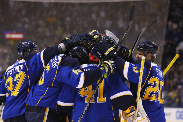 The St. Louis Blues have been doing a lot of this.  (Photo by Dilip Vishwanat/Getty Images)