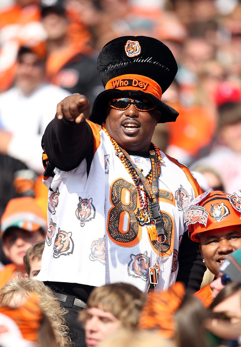 CINCINNATI - OCTOBER 31:  A Cincinnati Bengals fan is dressed for halloween during the NFL game against the Miami Dolphins at Paul Brown Stadium on October 31 2010 in Cincinnati Ohio.  (Photo by Andy Lyons/Getty Images)