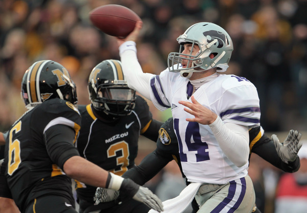 Here is a photo of Kansas State QB Collin Klein throwing the ball. Without that photo, you would have been forgiven for thinking he never threw a pass in 2011. (Photo by Jamie Squire/Getty Images)
