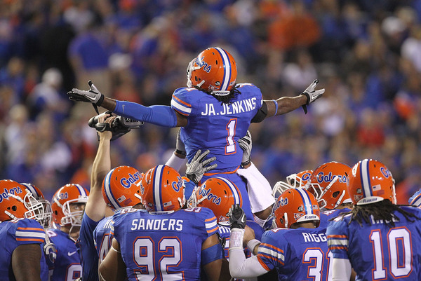 GAINESVILLE FL - NOVEMBER 13: Janoris Jenkins #1 of the Florida Gators gets the crowd up during a game against the South Carolina Gamecocks at Ben Hill Griffin Stadium on November 13 2010 in Gainesville Florida.  (Photo by Mike Ehrmann/Getty Images)