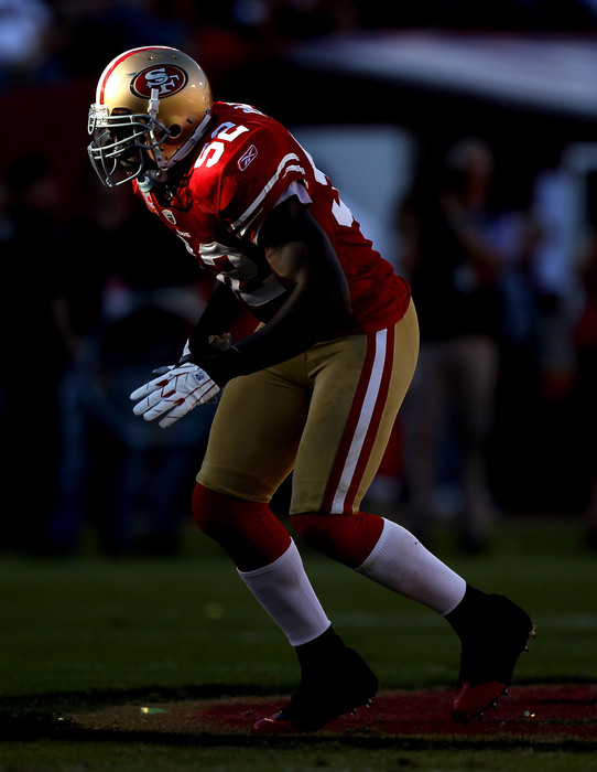 SAN FRANCISCO - NOVEMBER 14:  Patrick Willis #52 of the San Francisco 49ers in action against the St. Louis Rams during an NFL game at Candlestick Park on November 14 2010 in San Francisco California.(Photo by Jed Jacobsohn/Getty Images)
