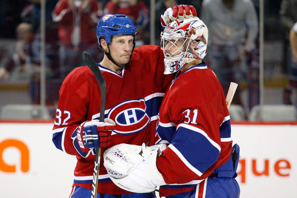 MONTREAL - Current Habs Travis Moen and Carey Price will be joining other past Habs greats for a day of autograph signings at the Brick in Montreal Saturday.  (Photo by Richard Wolowicz/Getty Images)